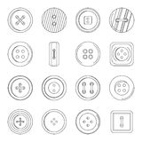 Clothes button icons set, outline style Royalty Free Stock Photos
