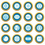 Clothes button icons set, simple style. Clothes button icons set. Simple illustration of 16 clothes button vector icons for web Stock Photos