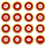 Clothes button icons set, simple style. Clothes button icons set. Simple illustration of 16 clothes button vector icons for web Stock Images