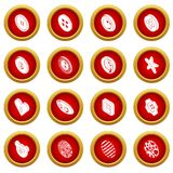 Clothes button icons set, simple style. Clothes button icons set. Simple illustration of 16 clothes button icons set vector icons for web Stock Images