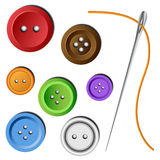Clothes button set with needle. Colorful clothe button set with needle and thread Stock Photos