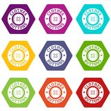 Clothes button vintage icons set 9 vector Royalty Free Stock Images