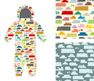 Clothes for children. Kids overalls. Texture of toy transport.  Royalty Free Stock Photos