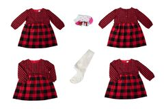 Clothes for children. A set of a beautiful red and black checker royalty free stock photos