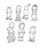 Clothes for children of various nationalities chine coloring humorous children for books and teaching school boards and narrativ. Clothes for children of various Royalty Free Stock Image
