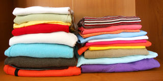 Clothes in closet Royalty Free Stock Photography