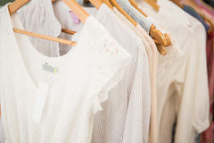 Clothes on clothes rail Royalty Free Stock Photos