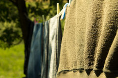 Clothes on clothesline Royalty Free Stock Photography