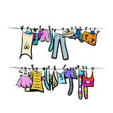 Clothes on the clothesline. Sketch for your design Stock Photos