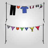 Clothes on  clothesline Royalty Free Stock Images