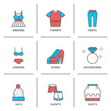 Clothes collection line icons set Stock Images