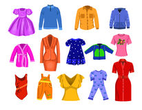 Clothes collection. Vector set of people clothes  on a white background Royalty Free Stock Image