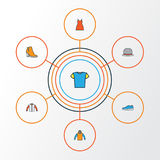 Clothes Colorful Outline Icons Set. Collection Of Panama, Sneakers, T-Shirt And Other Elements. Also Includes Symbols. Clothes Colorful Outline Icons Set Royalty Free Stock Images