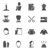 Clothes designer icons black Stock Photography