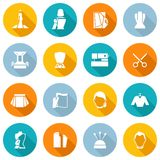 Clothes Designer Icons Flat. Set with dressmaking sewing machine scissors isolated vector illustration Stock Images