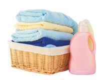 Clothes with detergent in basket Stock Photography