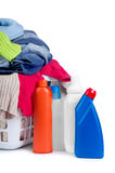 Clothes with detergent and in  plastic basket dropped Stock Photos