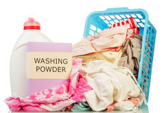 Clothes with detergent and washing powder Stock Images