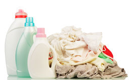 Clothes with detergent and washing powder Stock Photos
