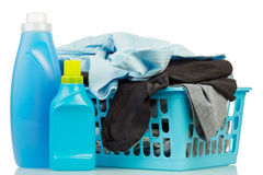 Clothes with detergent and washing powder Stock Image