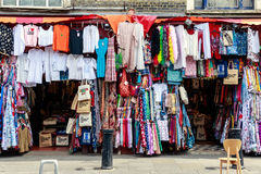 Clothes displayed at outdoors market royalty free stock images