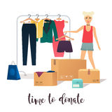 Clothes donation. Girl makes clothes donations.  Stock Images