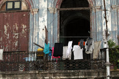Clothes dried on balcony Royalty Free Stock Images