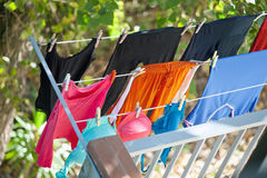 Clothes dried on balcony Royalty Free Stock Photography