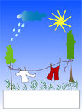 Clothes dry by air. Outdoor , place for text Royalty Free Stock Photo
