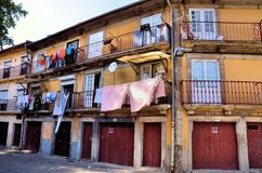 Clothes drying in the balconies Stock Images