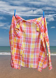 Clothes for drying on a clothesline Royalty Free Stock Photo