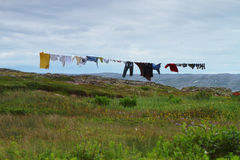 Clothes drying on clothesline Stock Photos