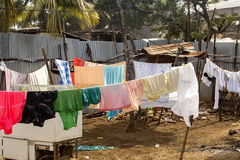 Clothes drying on the clothesline, Nosi Be, Madagascar Stock Photo
