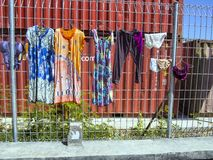 Clothes drying on the fence, Labuan Bayo, Indonesia Stock Photography