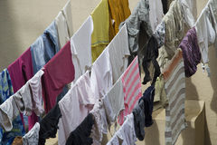 Clothes on Drying Lines Stock Photography