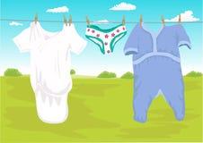 Clothes drying outdoor in the garden Stock Photos