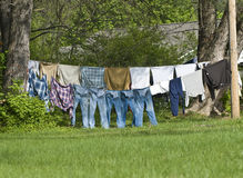 Clothes Drying Outdoors On Clothes Line Stock Images