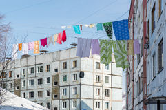 Clothes drying outdoors Stock Images