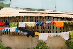 Clothes drying outside Stock Images