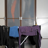 Clothes On Drying Rack Stock Photos
