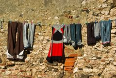Clothes drying on a rope Stock Photo