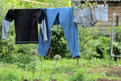 Clothes. Drying on the rope Royalty Free Stock Photography