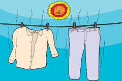 Clothes Drying in Sun. Damp clothes on clothesline drying under smiling sun vector illustration