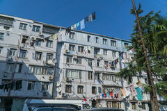 Clothes drying in traditional way on the street of Batumi, Georgia Royalty Free Stock Photo