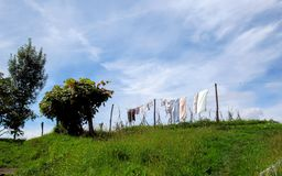 Clothes drying under the sunny weather in Pais Basco, on Camino del Norte route, Northern coast of Green Spain. Clothes drying under the sunny weather in Basque royalty free stock image