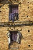 Clothes drying on the window, Kathmandu, Nepal Stock Photo