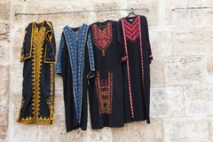 Clothes in east market of Jerusalem Royalty Free Stock Images