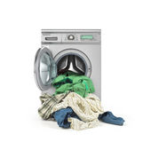Clothes falling out of the washing machine Stock Photos