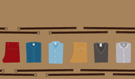 Clothes Fashion background. Menswear concept. Flat style Men Clothing Vector illustration eps 10. Stock Photos