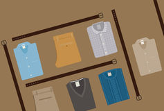 Clothes Fashion background. Menswear concept. Flat style Men Clothing Vector illustration eps 10. Royalty Free Stock Photos